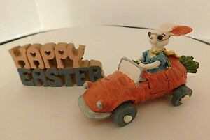 Easter Bunny Rabbit Carrot Roadster Car with Easter Sign Resin Like Material