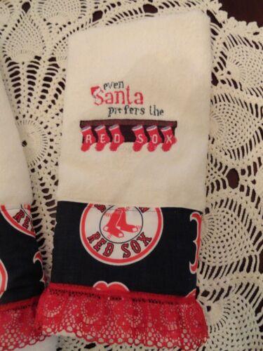 RED SOX 2 TOWEL GIFT SET  EVEN SANTA PREFERS RED SOX/'S   CHRISTMAS BATH /& HAND