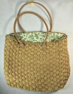 Lord and Taylor Women Bag, Brown Basket Weave Woven Straw Clutch BIG READ