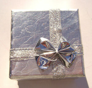 2200PK Gift Box Ring, Studs, Paper, Silver with Ribbon & Bow