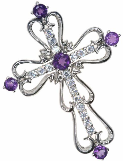 Amethyst Gemstone Cross Design Sterling Silver Pendant + Long Chain
