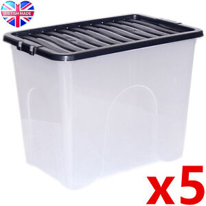 5-x-80L-80-Litre-XX-Large-Plastic-Storage-Clear-Box-Strong-Stackable-Container