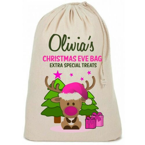 Cute Personalised Girls Pink Christmas Eve Reindeer Bag Special Treat Sack
