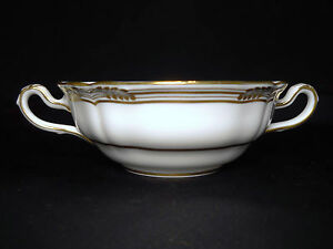 SPODE-ENGLAND-SHEFFIELD-1-FOOTED-CREAM-SOUP-BOWL-GOLD-TRIM-SCALLOPED-EDGE-R568