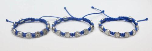 Set 3 pcs. Catholic St.Benedict Blue Bracelets from Medjugorje Handmade