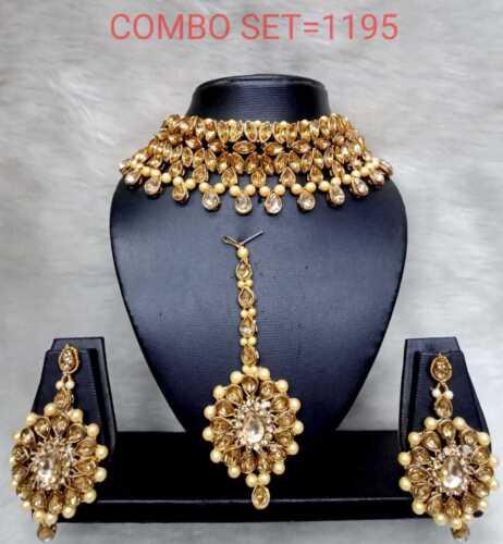 Ethnic Bollywood Plaqué Or Kundan Indian Fashion Choker Jewelry Collier Set
