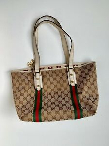 d2fd3e682b75ad Image is loading GUCCI-authentic-Bag-137396-Jolicoeur-Canvas-Beige-Tote