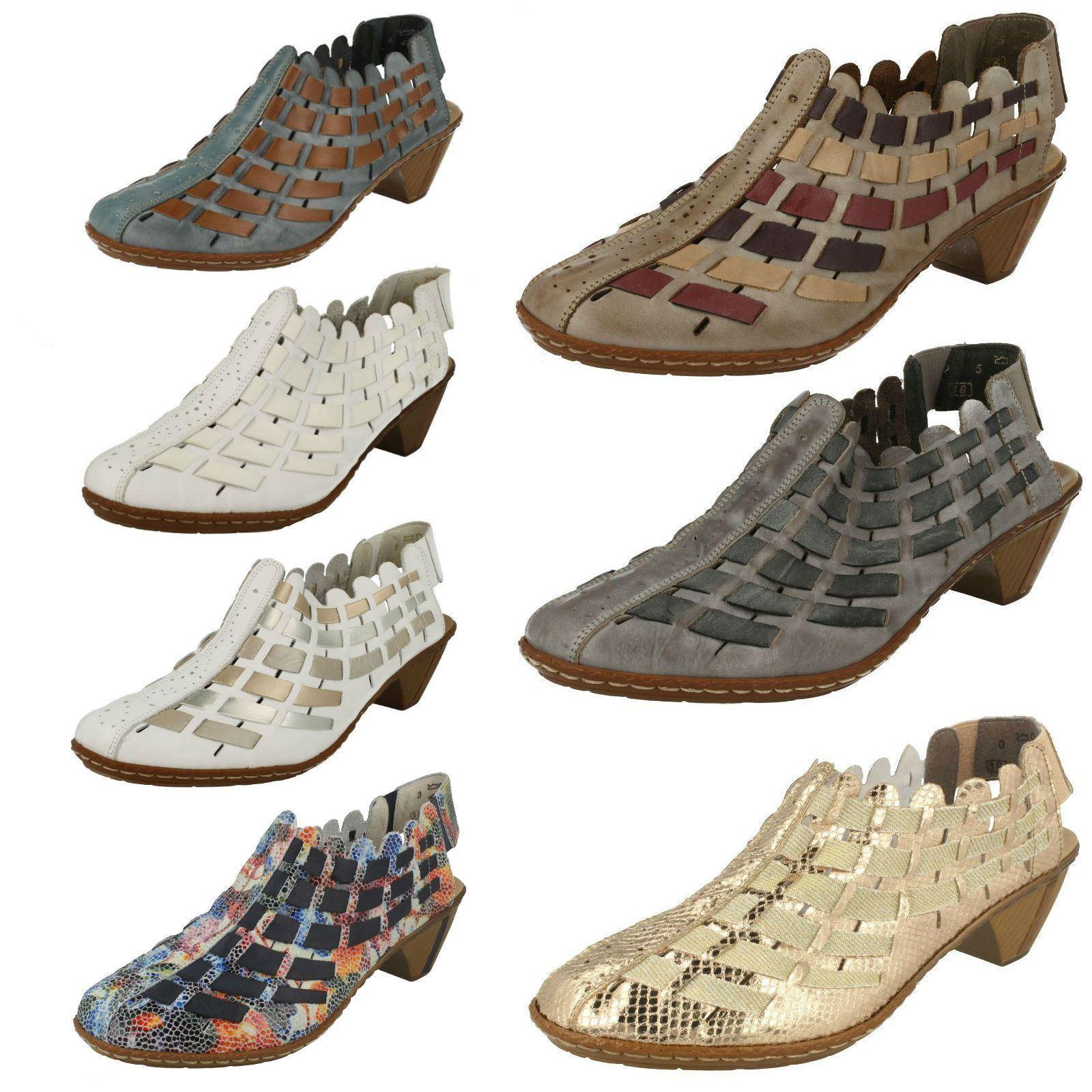Femmes Rieker Bride Arrière chaussures Avec Tissé Détail - 46778