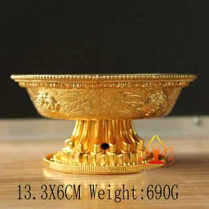 Buddha Tibet Tibetan Buddhist Alloy Offering Bowl Vessel family hall Temple