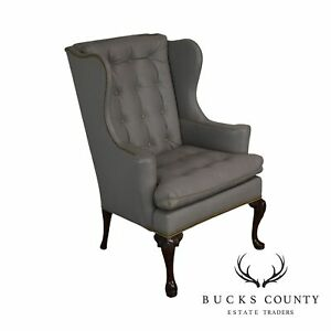 Terrific Details About Hickory Chair Co Grey Tufted Leather Mahogany Queen Anne Wing Chair Creativecarmelina Interior Chair Design Creativecarmelinacom