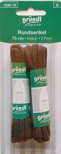 30 /% Polyester Länge 75 cm Braun 2 Paar Rundsenkel aus 70 /% Baumwolle