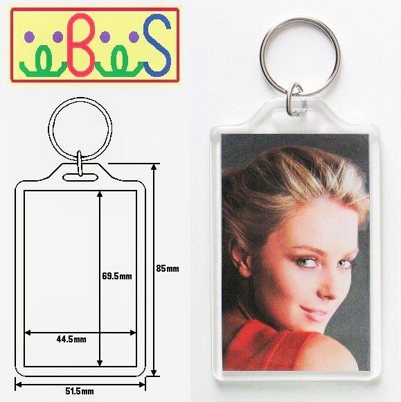 1x Blank Acrylic Keyring 77x52mm Frame & 70x45mm Photo key ring plastic E1306