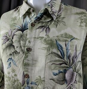 XL-Hawaiian-Aloha-Green-Palm-Trees-Ferns-Tiki-Hut-Casual-Friday-Campia-Moda