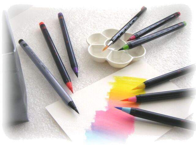 Japanese Fude brush Pen Calligraphy brush Set 20 Colors Traditional Art shodo