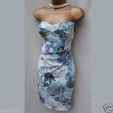 Exquisite Karen Millen Romantic Floral Stretch Satin Wiggle Cocktail Dress 8 UK