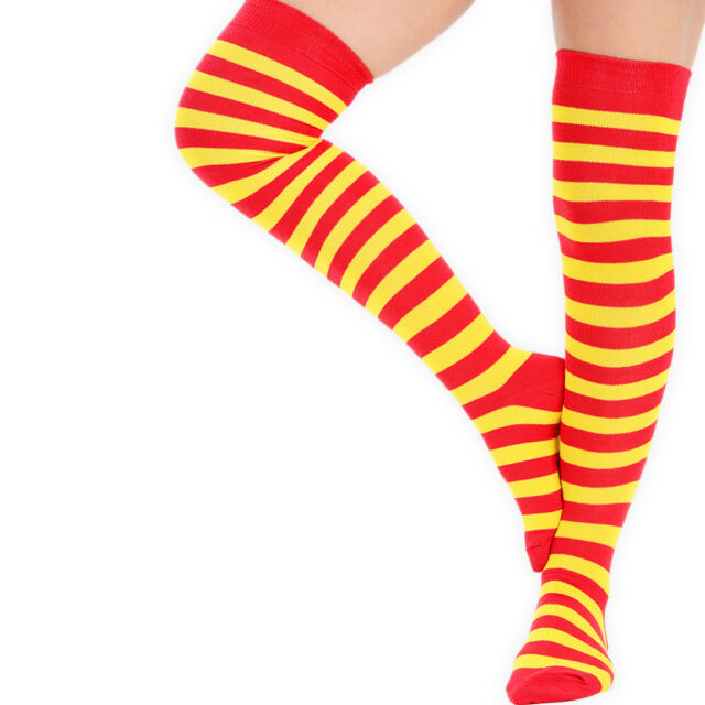 OVER THE KNEE UK4-7 Cotton Rich  Uni Referee Striped Long Socks Tights Stockings