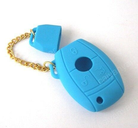 Blue Smart Remote Key Case Shell Silicone Cover Holder For Benz C E S M G Class