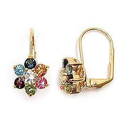 Bo Oreilles Dormeuse Fleur Diamant Cz Multicouleur Plaqué Or 18K Dolly-Bijoux