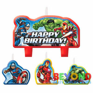 Peachy Marvel Epic Avengers Happy Birthday Cake Topper Candle Set 4Pc Funny Birthday Cards Online Elaedamsfinfo