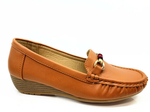 New Womens Ladies Low Wedge Cushion Sole Ribbon Comfortable office Loafers Shoes