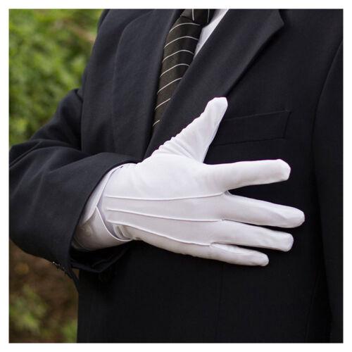 1Pair Short White Men Women Gloves Tuxedo Honor Guard Parade Santa Military