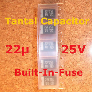 5 pcs. Tantal Cap 22µ 25V Electrically activated internal fuse 893D , Pb free