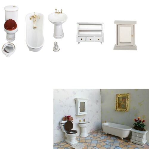 8 Ceramic Bathroom Furniture Set for 1//12 Dolls House Miniature Accessories