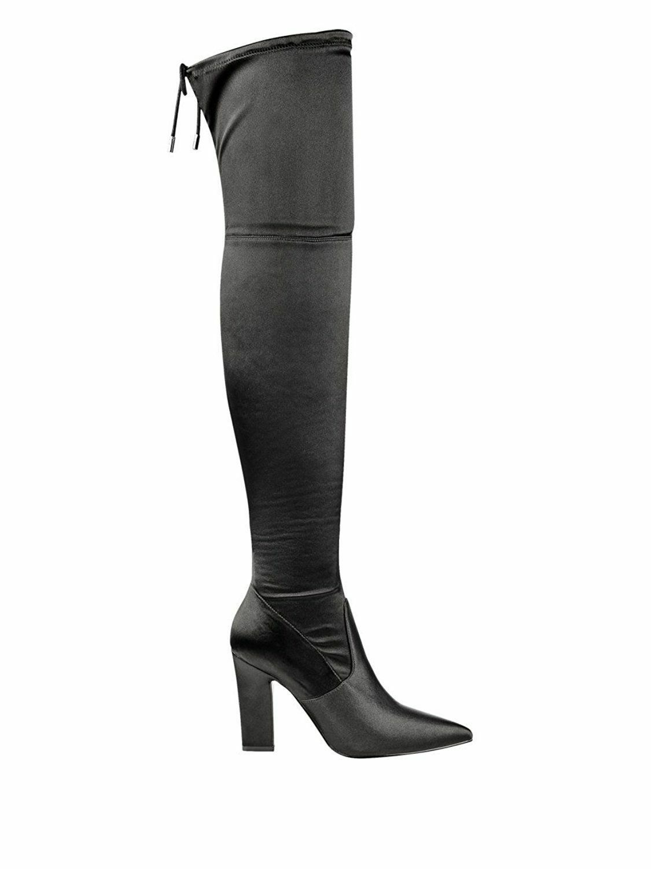 Guess angeley 7.5 Negro M De Tela Negro 7.5 botas Hasta La Rodilla Partido Bloque En Punta de glamour a5e9ac