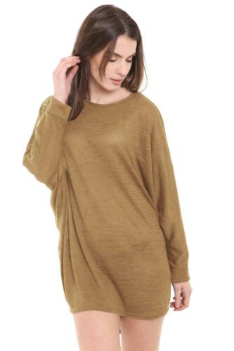 Neue Damen Langarm Baggy Hemd Tunika Kleid Fledermausärmel One Größe 8-26