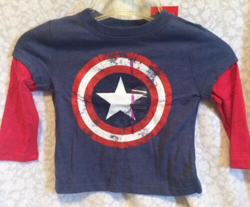 Long Sleeve NWT Boy's Sz 2T Captain America Distressed Shield Logo Tee