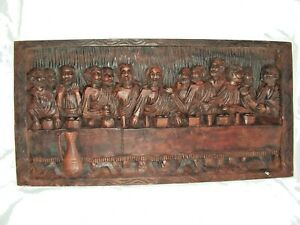 VINTAGE-HAND-CARVED-THE-LAST-SUPPER-CHRIST-AND-THE-APOSTLES-RELIGIOUS-PLAQUE