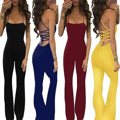 Women's Sleeveless Backless Bodycon Playsuit Club Jumpsuit Rompers Long Trousers