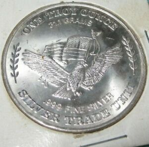 1 Troy once .999 Fine Silver Bull 31.1 grams Silver Trade Unit Morgan design