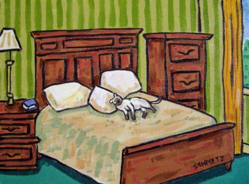 siamese cat sleeping in bed animal art print 11x14