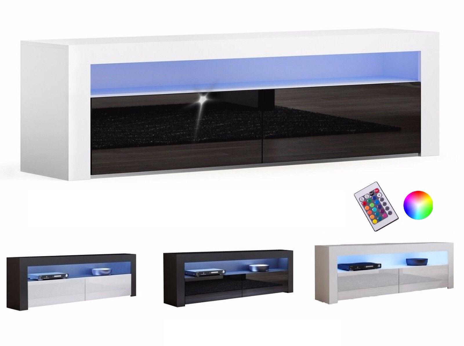 TV LOWBOARD SCHRANK TISCH BOARD HOCHGLANZ MODERN 157cm  mit RGB LED-Beleuchtung