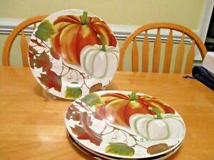 4 Royal Norfolk Thanksgiving Autumn Pumpkin Ceramic Stoneware Dinner Plates New