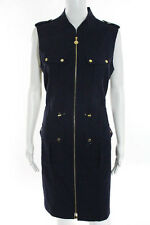 Calvin Klein Navy Blue Gold Tone Details Zip Front Knee Length Dress Size 10