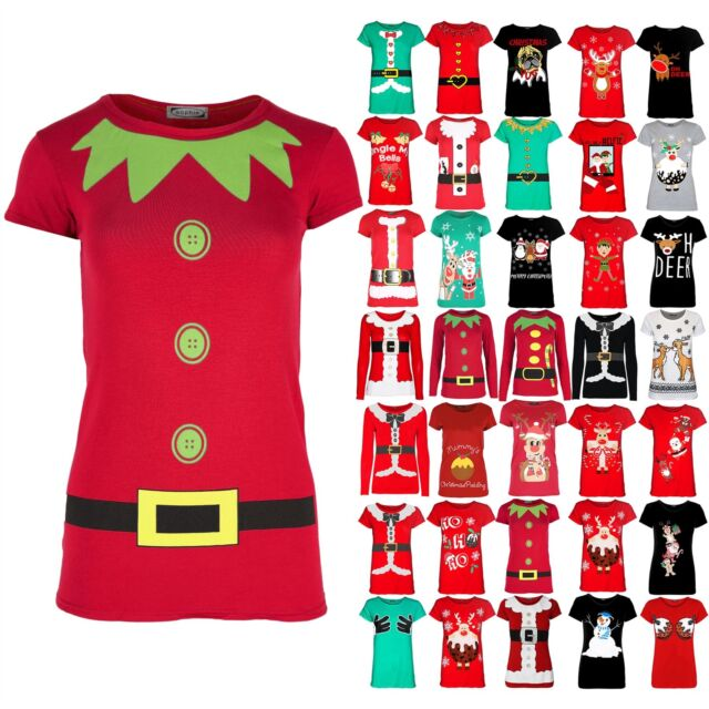 Womens Christmas T Shirt Ladies Elf Costume Xmas Cap Short Sleeve Jersey Top
