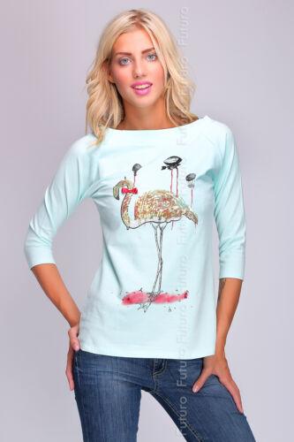 Femme Casual cas Top Chemisier Imprimé Flamingo Pull Pull Taille 8-12 ft1744