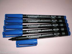 5-x-Staedtler-Overhead-Marker-Pen-Lumocolor-M-Permanent-317-3-Blue-OHP-NEW