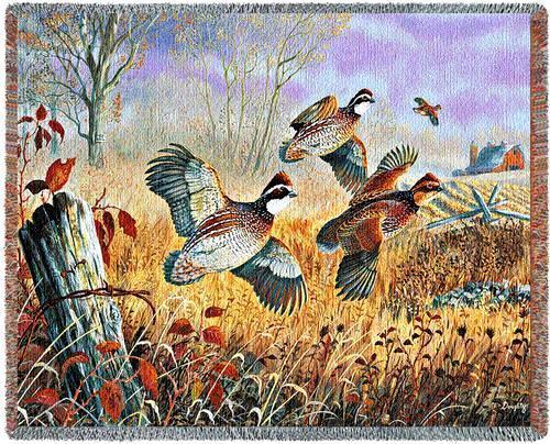 70x53 QUAIL Wildlife Bird Tapestry Throw Blanket