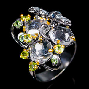 Jewelry-Gemstone-ring-Natural-Quartz-925-Sterling-Silver-Ring-Size-8-5-R96406