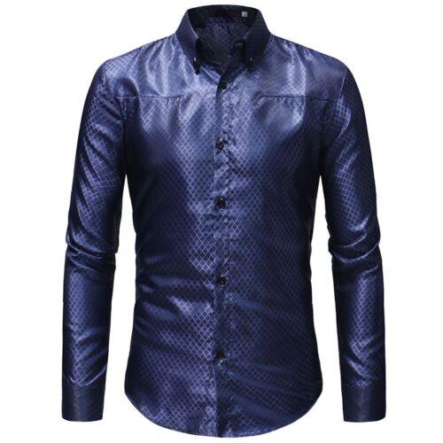 Mens Slim Fit Button Business Shirt Long Sleeve Dress Shirts Casual T-Shirt Tops