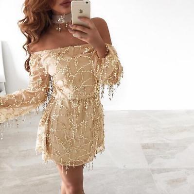 Fashion Women Off Shoulder Sequin Tassel Dress Summer Beach Backless Mini Dress