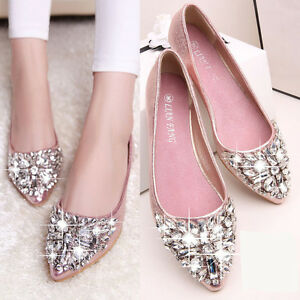Womens-Girls-Wedding-Party-Flats-Sapatos-Loafers-Pointed-Toe-Shoes-Zapatos-Mujer