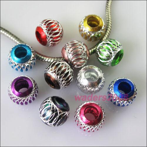 20 Mixed Silver Carved Lantern Aluminium Beads fit European Charm Bracelets 12mm