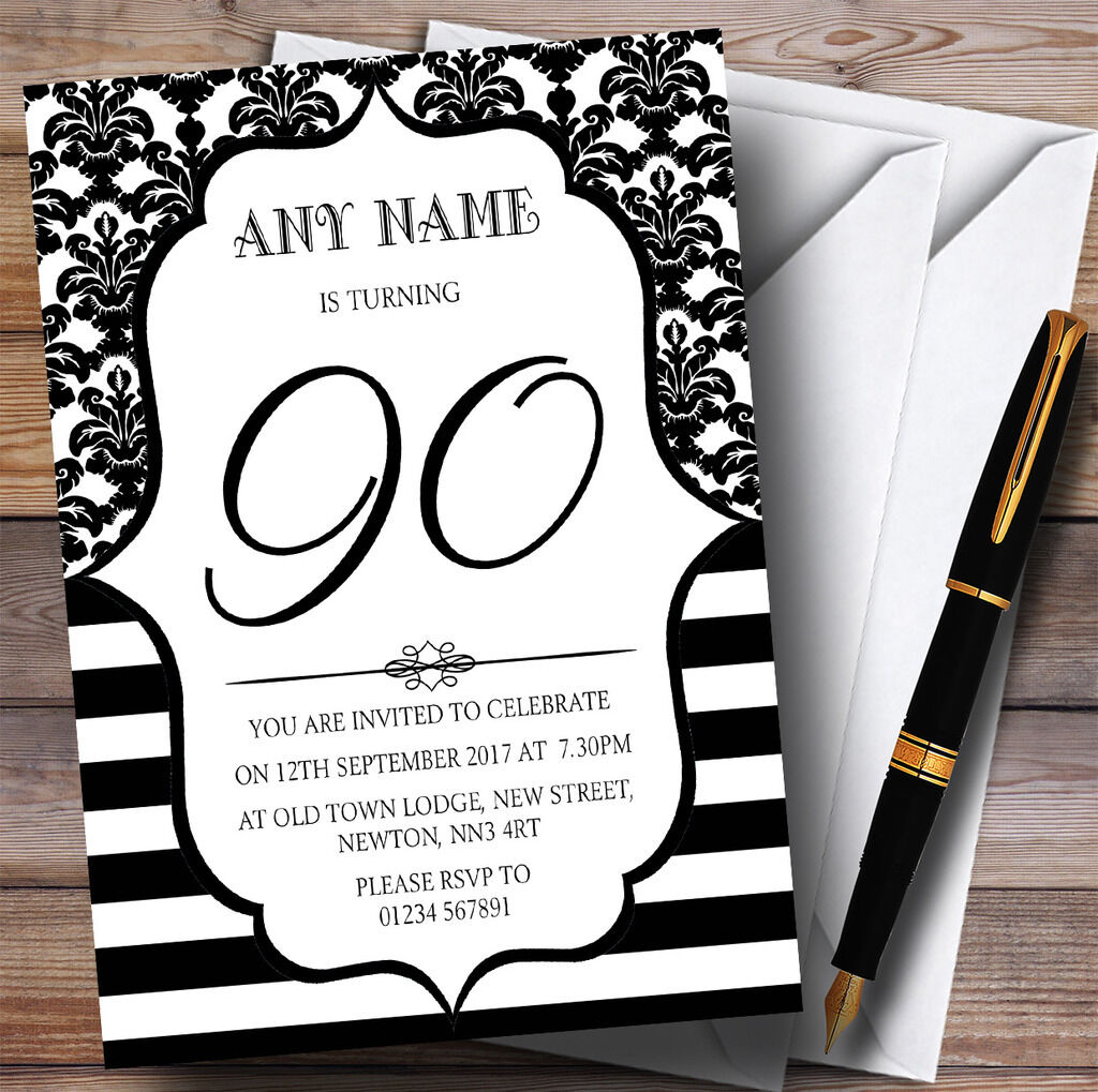 Vintage Damasco blancoo y Negro 90th Personalizado Invitaciones Fiesta De Cumpleaños
