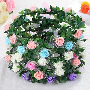 Sweet-Girls-Women-Rose-Flower-Crown-Headband-Wreath-Party-Wedding-Headwear-JT