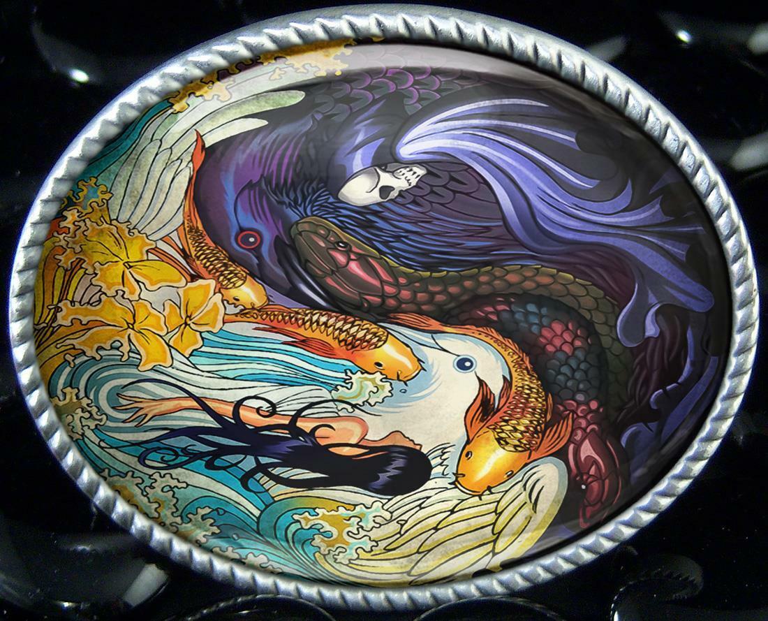 Yin Yang Good Evil Art Handmade Artisan Oval Resin Belt Buckle