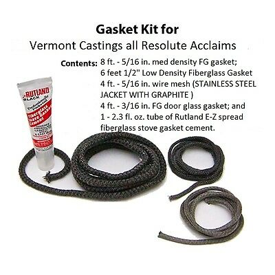 AW 3421 Vermont Castings Resolute Acclaim Stove Gasket Kit Complete w// cement VC000-3421